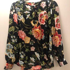 LOFT Tops - Floral keyhole blouse